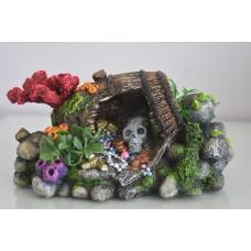 Aquarium Detailed Tresure Skull & Barrel 22 x 12 x 8 cms