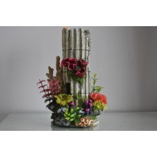 Detailed Large Old Stone Column & Coral Planted Decoration 16 x 16 x 26 cms