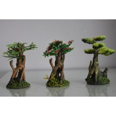 Detailed Set Of 3 Bonsai Trees Planted Decorations 7 x 6 x 12