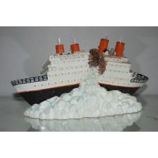 Aquarium Fibre Optic Steam Ship Liner Ornament 29 x 17 x 15 cms to Clear