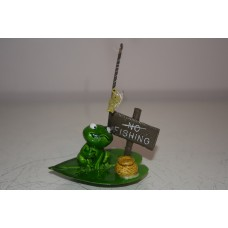 Aquarium Frog With No Fishing Sign Approx 6 x 7 x 6 cms