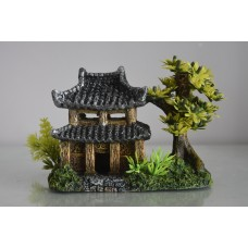 Aquarium Detailed Pagoda & Plant Garden 14 x 9 x 10 cms