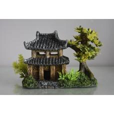 Aquarium Detailed Pagoda & Plant Garden 14 x 9 x 10 cms