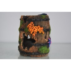Aquarium Great Detailed Old Wooden Barrel & Barnacles 10 x 10 x 13 cms