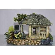 Aquarium Detailed Old Watermill & Plants With Air Adapter Decoration 21 x 14 x 14 cms