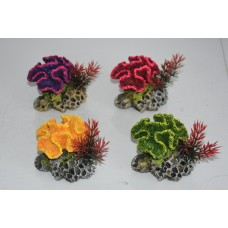 Aquarium Detailed Medium Coral On Rock Set Decoration 4 Items 8 x 8 x 7 cms