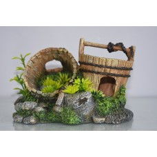 Aquarium Detailed Old Wooden Pails On Rocks & Plants 20 x 13 x 13 cms