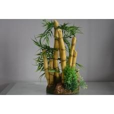 Aquarium Stunning Detailed Large Bamboo & Plant Decoration 13 x 13 x 29 cms