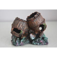 Aquarium Double Barrels On Rock Suitable For Any Aquariums Size 12 x 8 x 10 cms